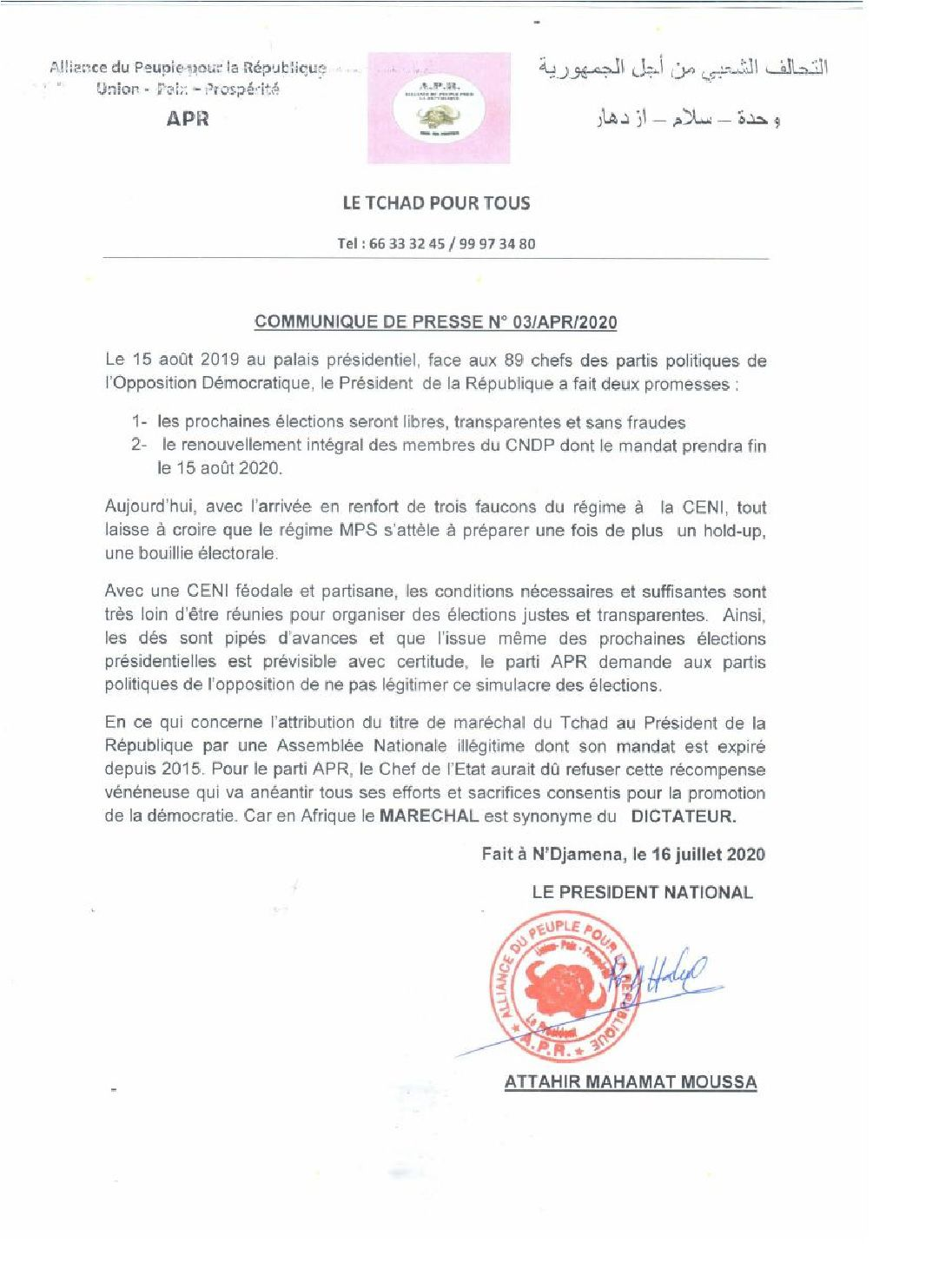Election au Tchad: l'APR juge féodale et partisane