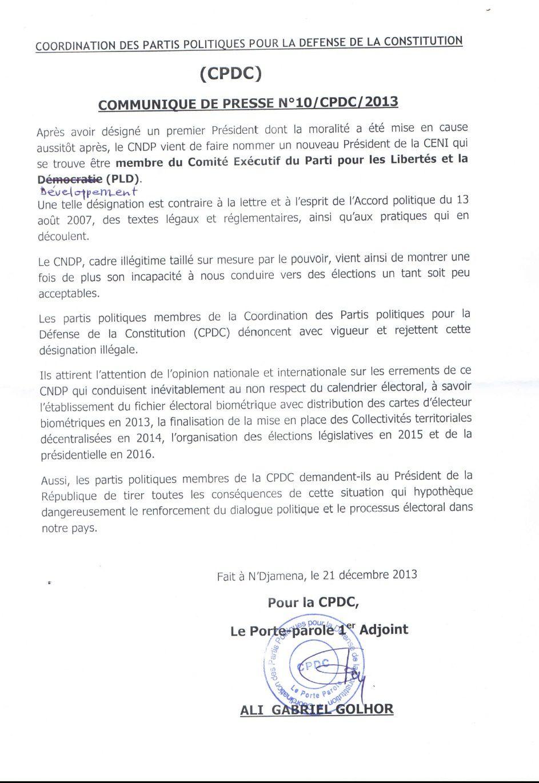 Dialogue politique hypothéqué au Tchad: la CPDC demande à Idriss Deby de tirer les conséquences