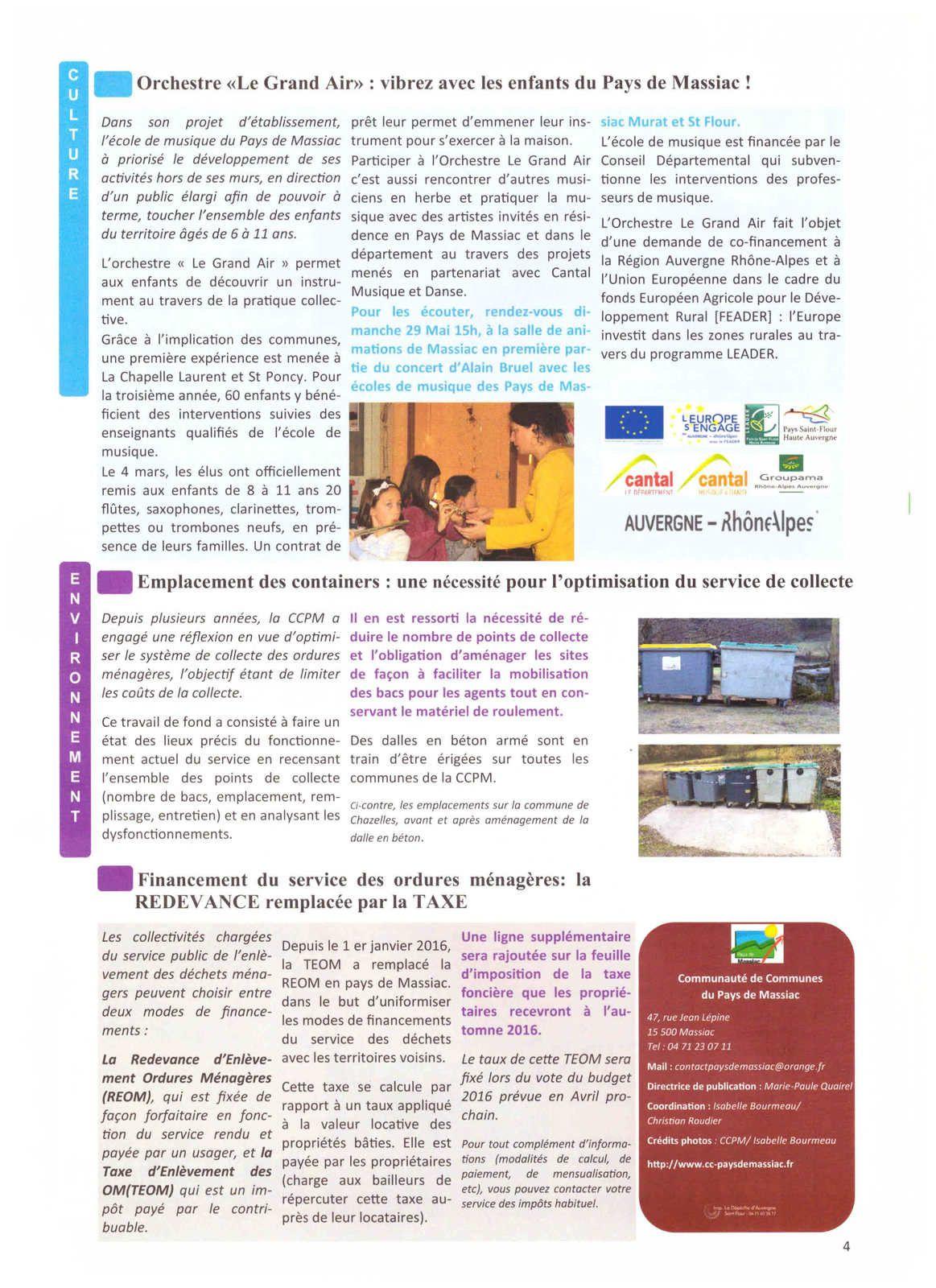 Pays de Massiac : lettre d'informations