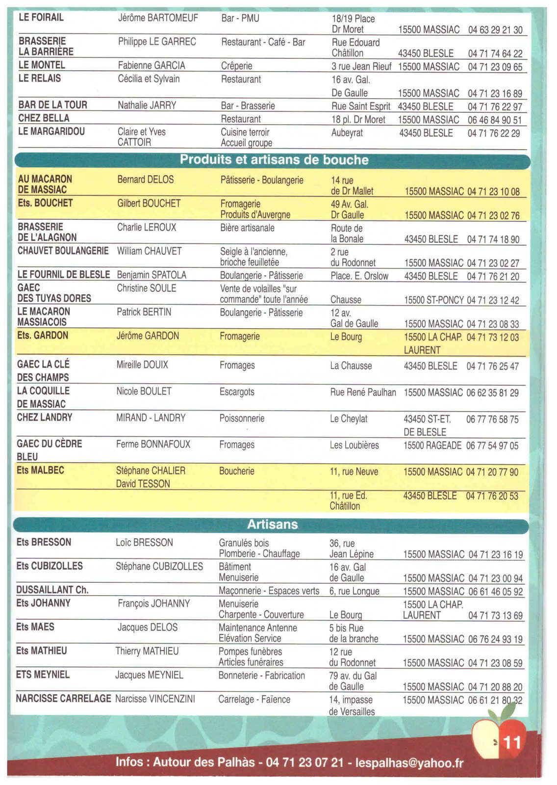 Palhàs 2017 du 20 au 29 octobre, le programme