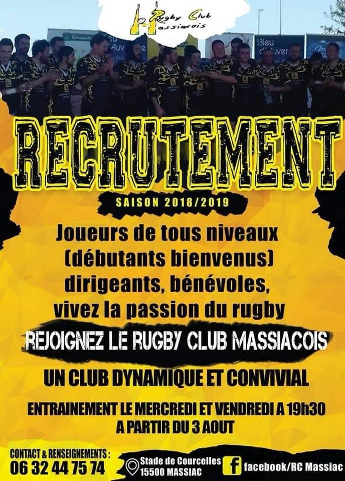 "Massiac le"" rugby recrute"