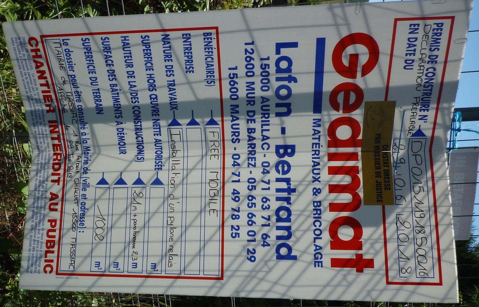 Rue jacques Chaban Delmas zone de la Prade l'antenne aura une hauteur de 23 m 50