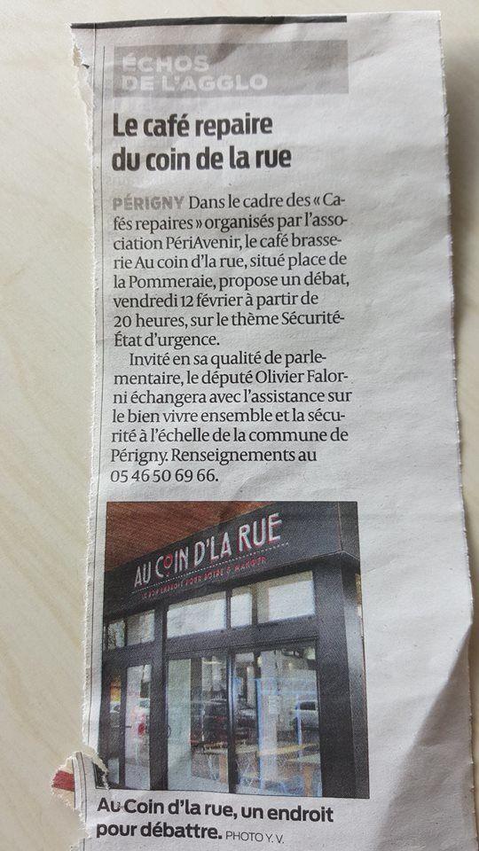 """Débat sur la sécurité et l'état d'urgence au café """"Au coin de la rue"""" à Périgny, vendredi 12 février à 20h"""