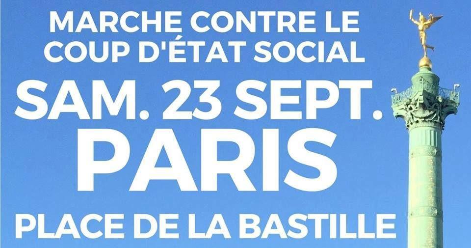 MANIFESTATION FI du 23 septembre 2017 à Paris de Bastille à République contre le coup d'état social : FLORILÈGE