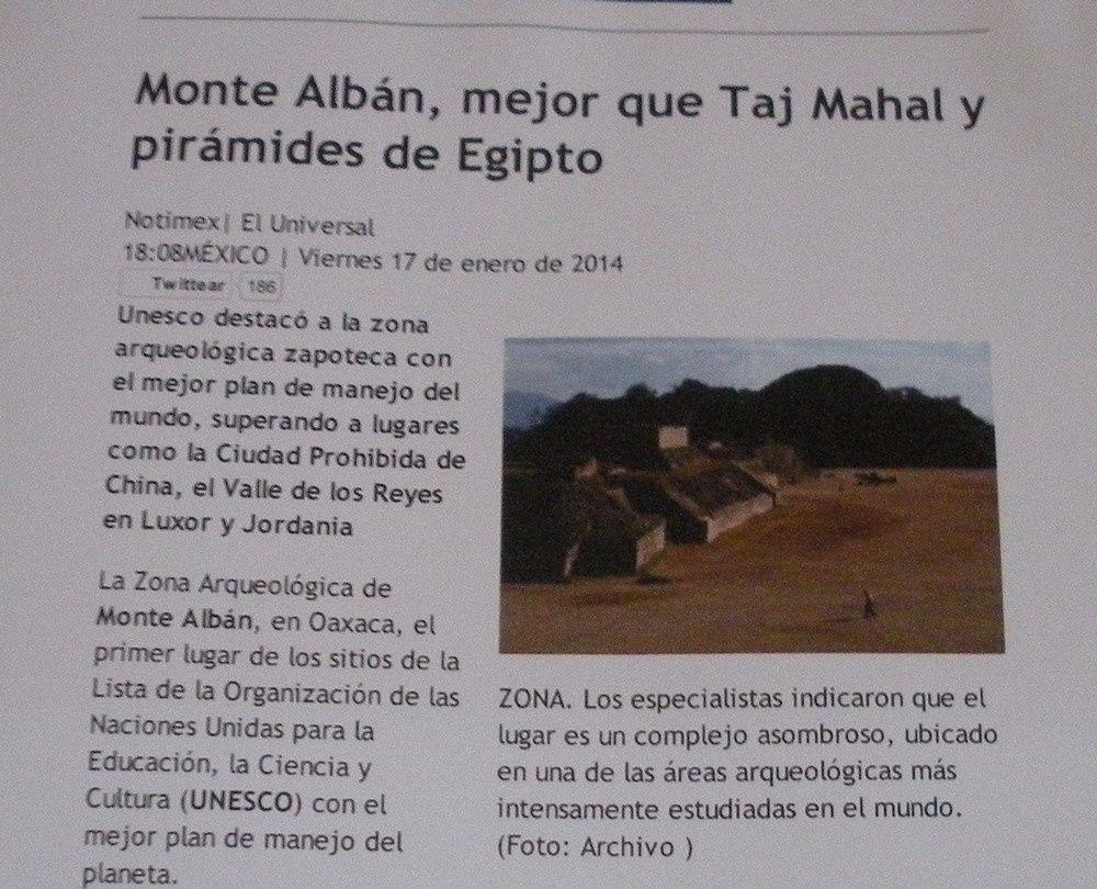 Monte Alban a été distingué par l'Unesco pour son plan de gestion qui serait le meilleur du Monde !