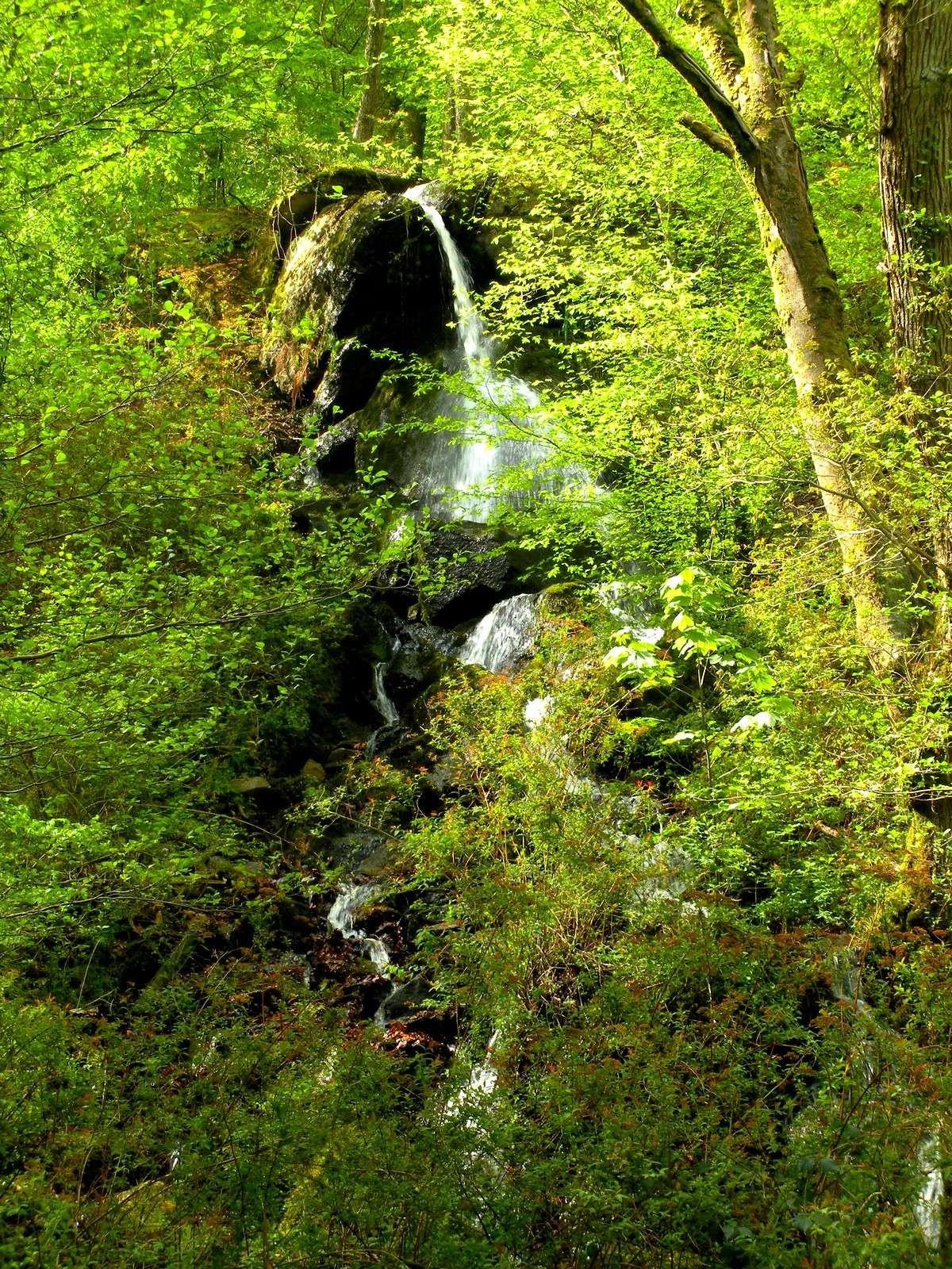 La cascade de Brisecou à Autun et le chemin qui y conduit, à partir de Couhard.