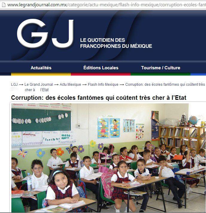 Les médias (Grand Journal, Courrier international) se sont emparés de cette curieuse affaire d'écoles fantômes - copies d'écran des sites -