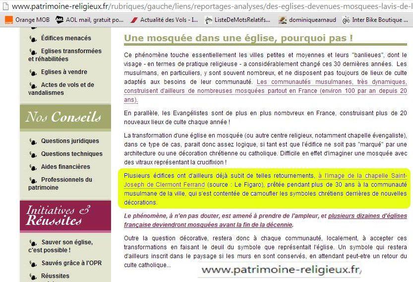 En qualité de citations, copies d'écran de lejsl.com et de patrimoine-religieux.fr
