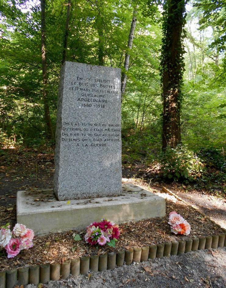 Apollinaire blessé près du Chemin des Dames ; le monument des Basques
