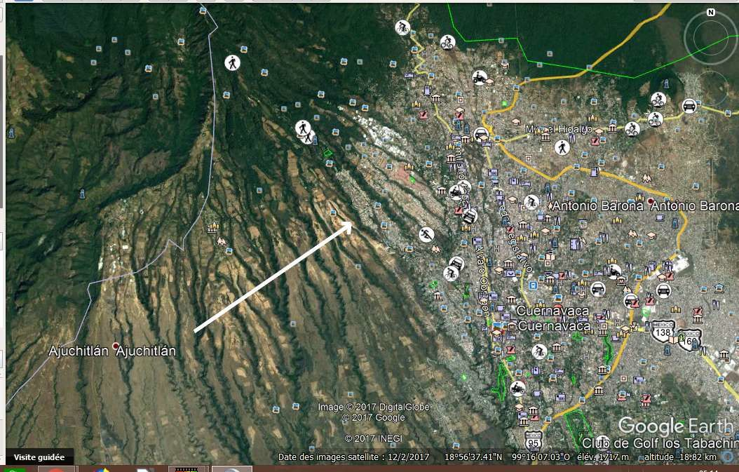 Les barrancas parallèles de Cuernavaca vues sur Google earth