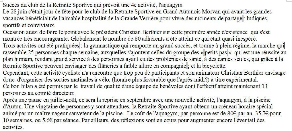 Club de la retraite sportive à Autun, bon bilan et de belles perspectives