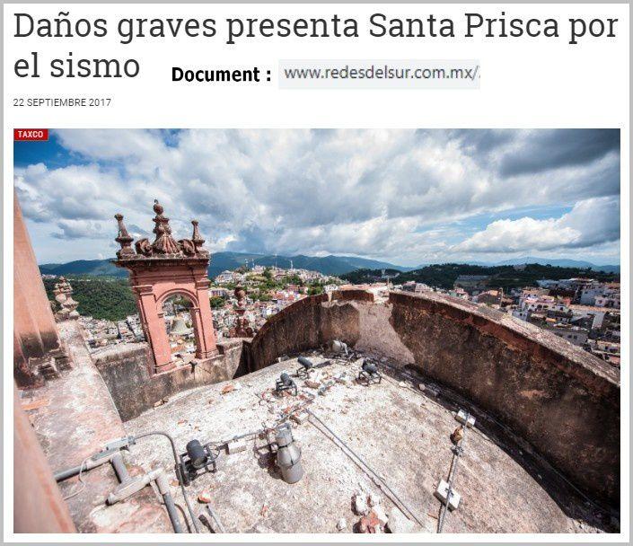Merveille mexicaine, l'église de Taxco affectée par le séisme du 19 septembre 2017