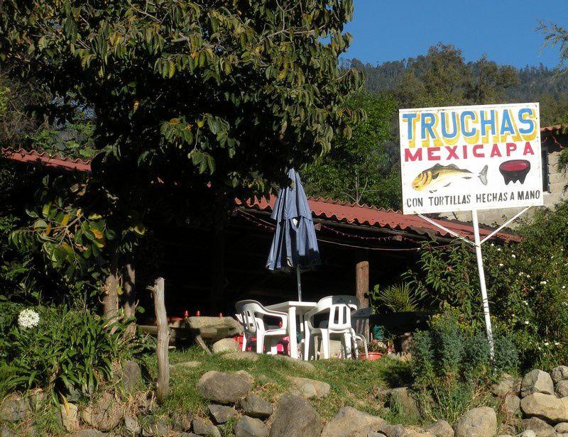 Mexicapa, truites tentatrices. Les tortillas, comme précise le panneau, sont faites à la main, ce qui est de rigueur dans les campagnes.
