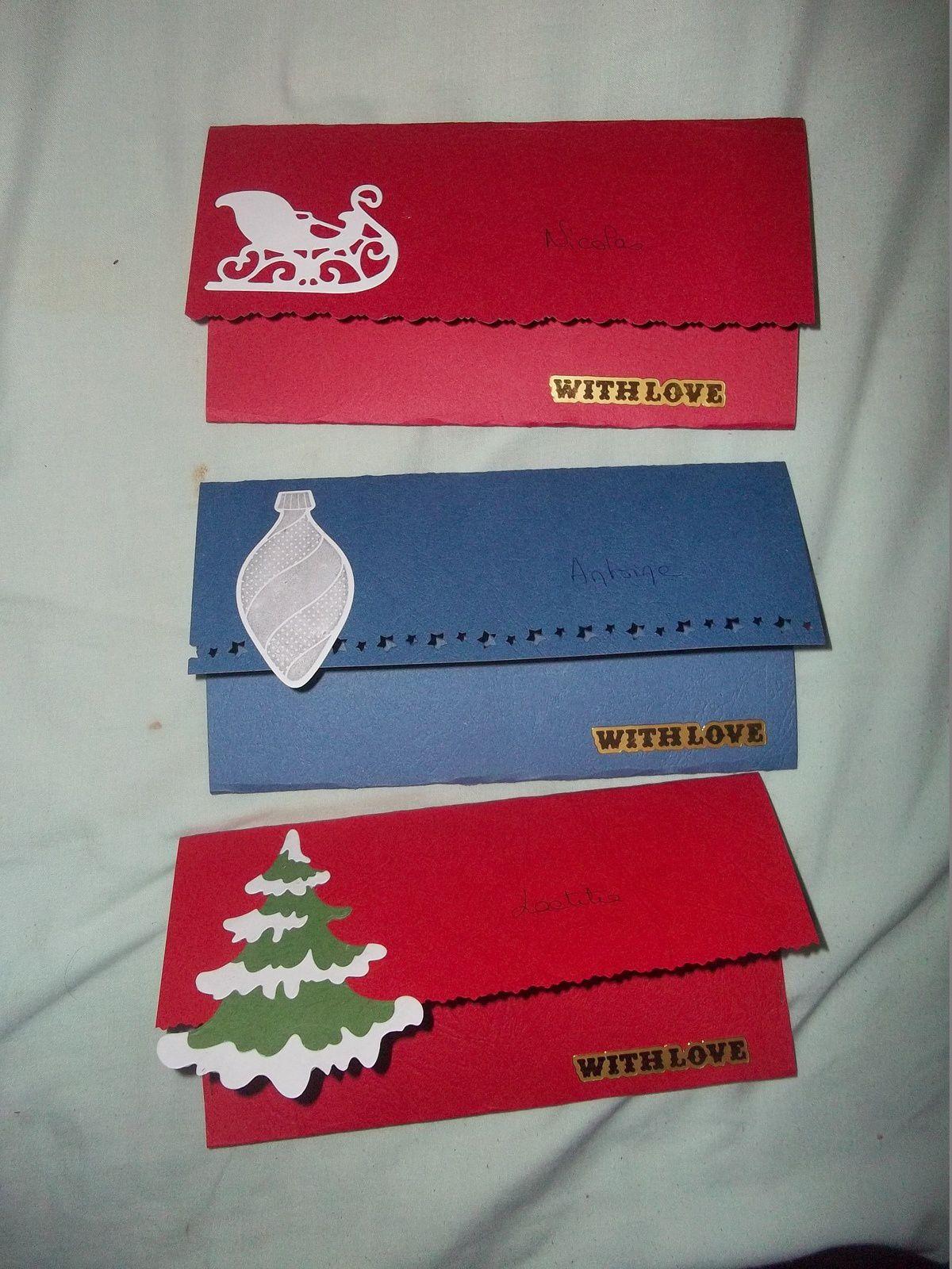 quelques pochettes cadeau (pour petits billets, cheques....)