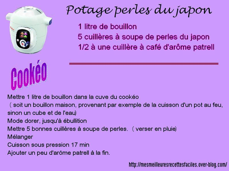 Potage perles du japon au cookéo