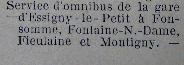 En 1910, on pouvait prendre l'omnibus à Essigny