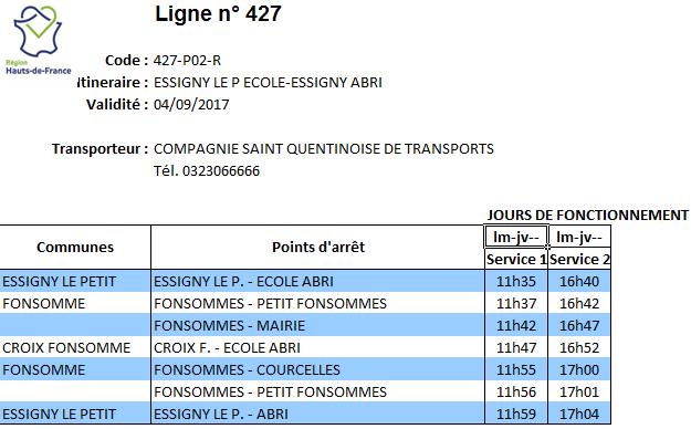 horaire du bus pour le regroupement scolaire du Noirieu