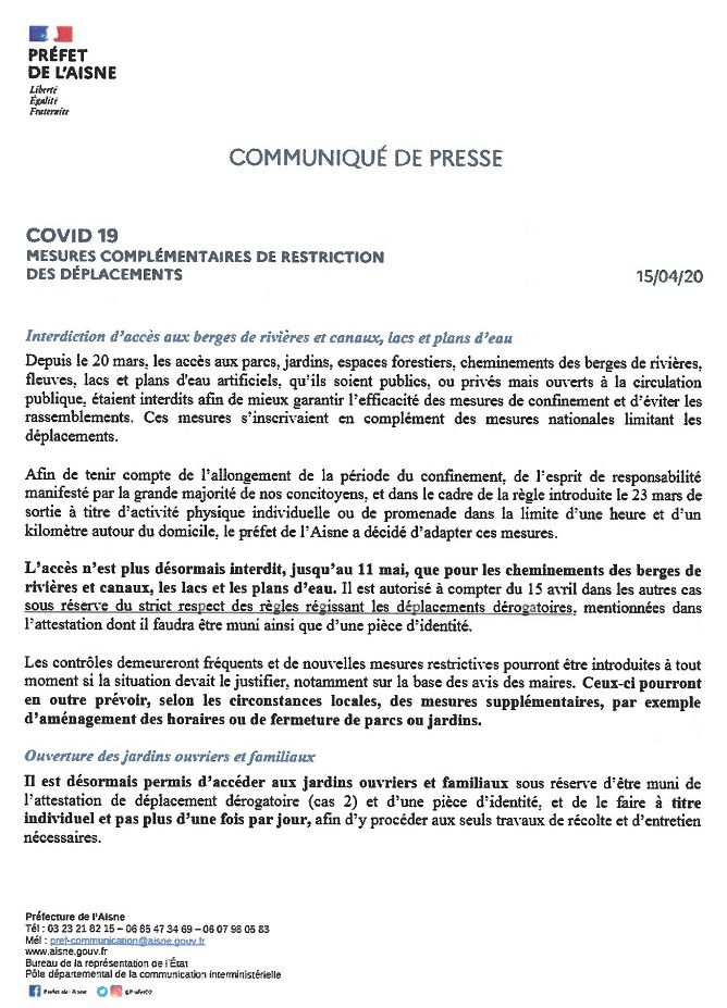 Communiqué du préfet : mesures complémentaires de restriction des déplacements