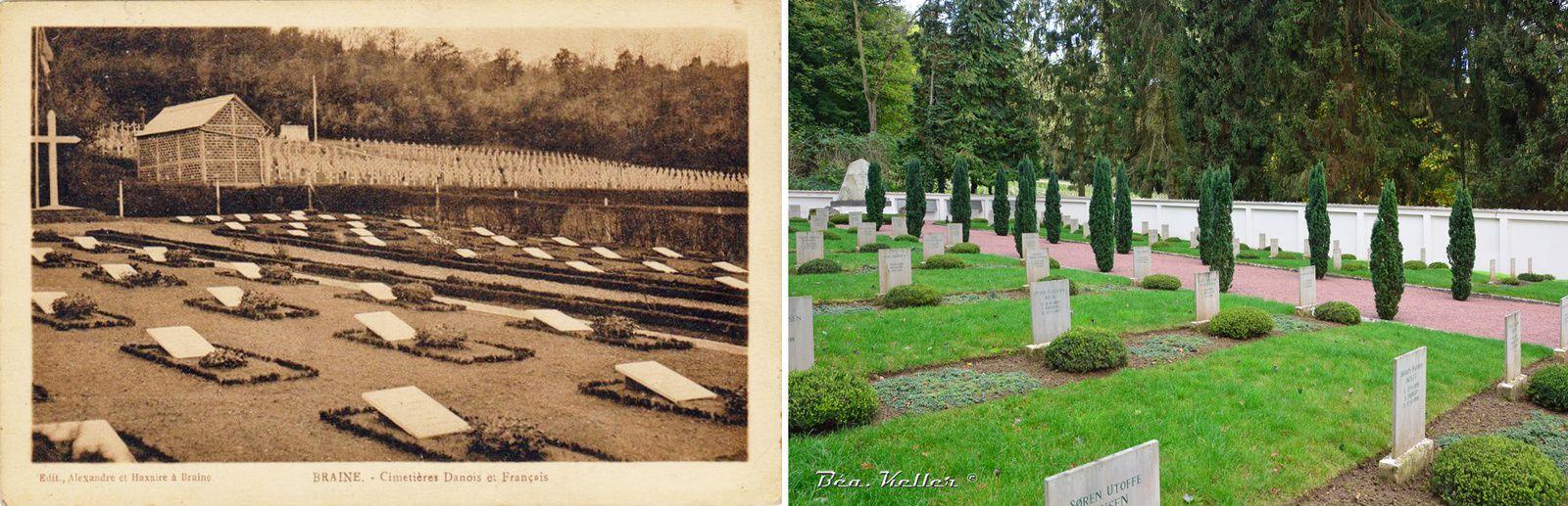 Le cimetière danois au premier plan et le cimetière français dans le fond.