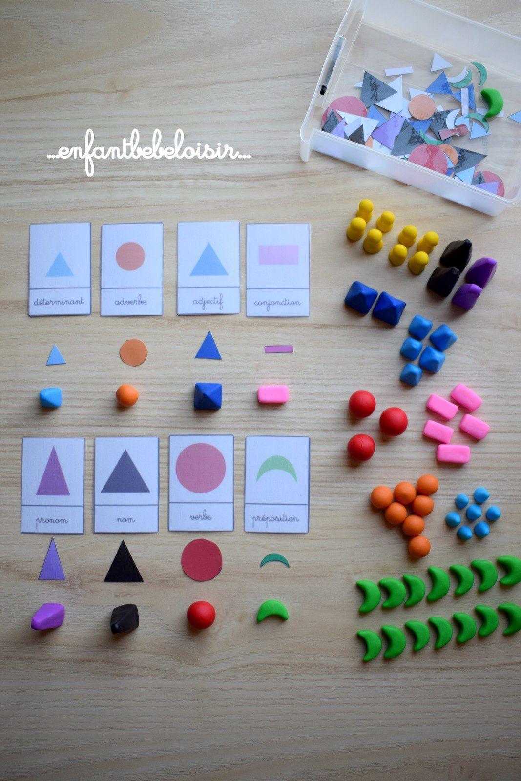 Formes grammaticales Montessori en Fimo