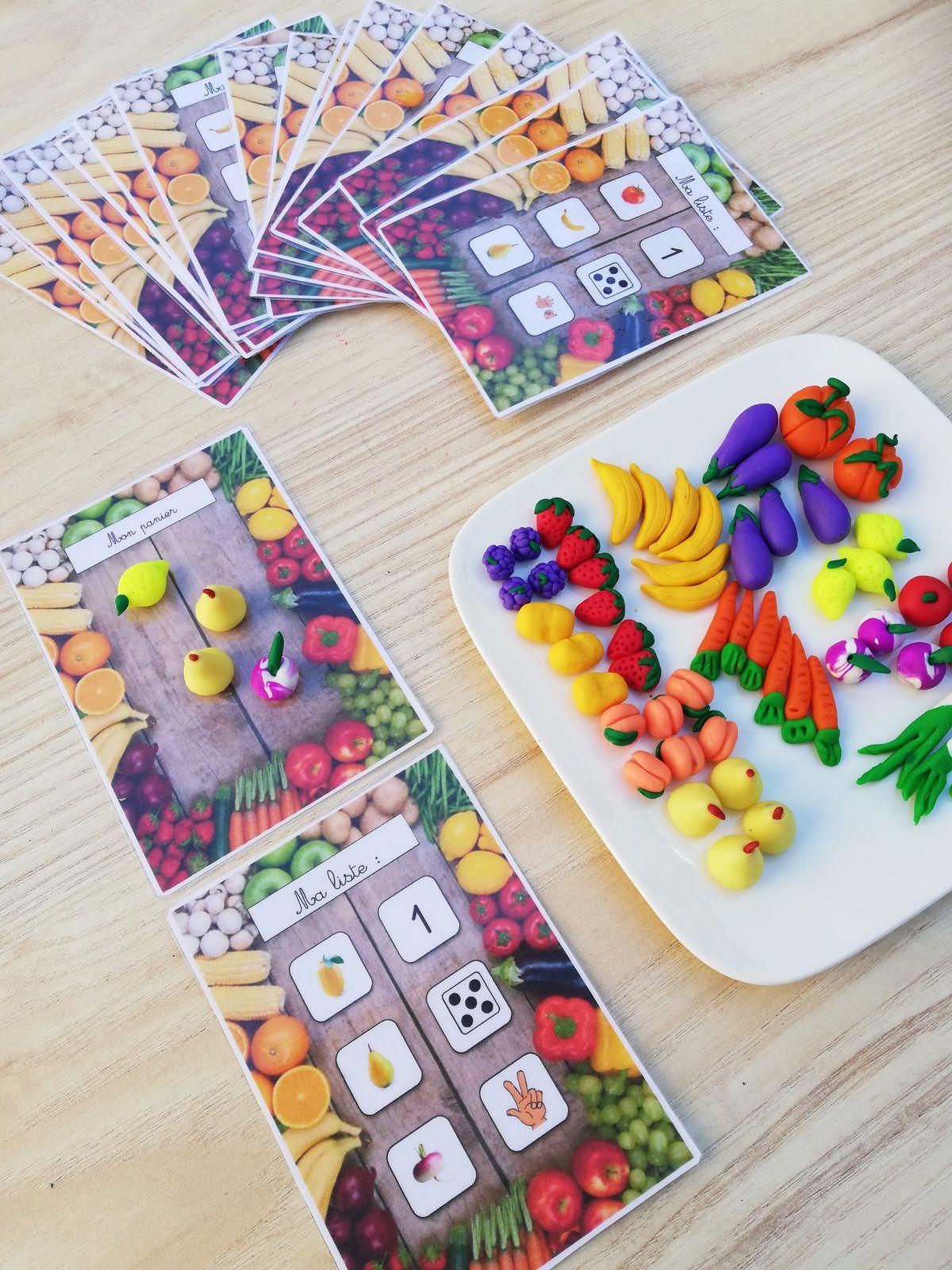 Cartes à compter - les fruits et légumes en fimo