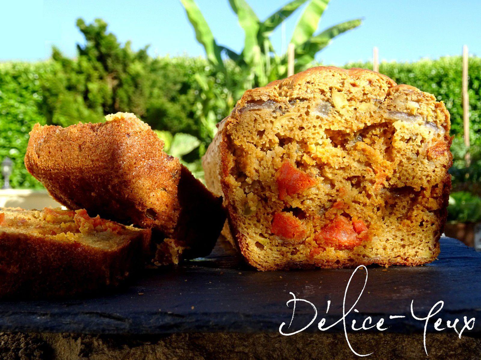 Cake à la Farine de Maïs - Chorizo, tomates séchées, oignons rouges & olives