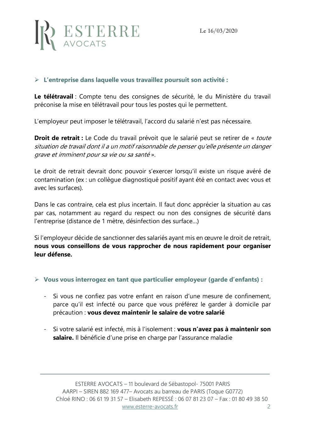 Note d'information - COVID 19 - ESTERRE AVOCAT-16 03 2020