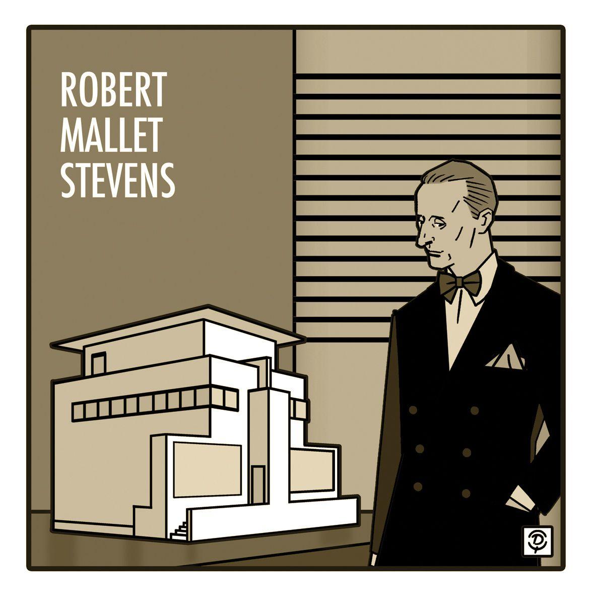 DELIUS Dessinateur Portrait original de l'architecte Robert Mallet-Stevens Dessin bistre