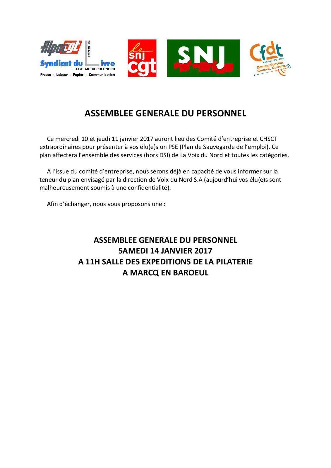 ASSEMBLEE GENERALE DU PERSONNEL (intersyndicale VDN)