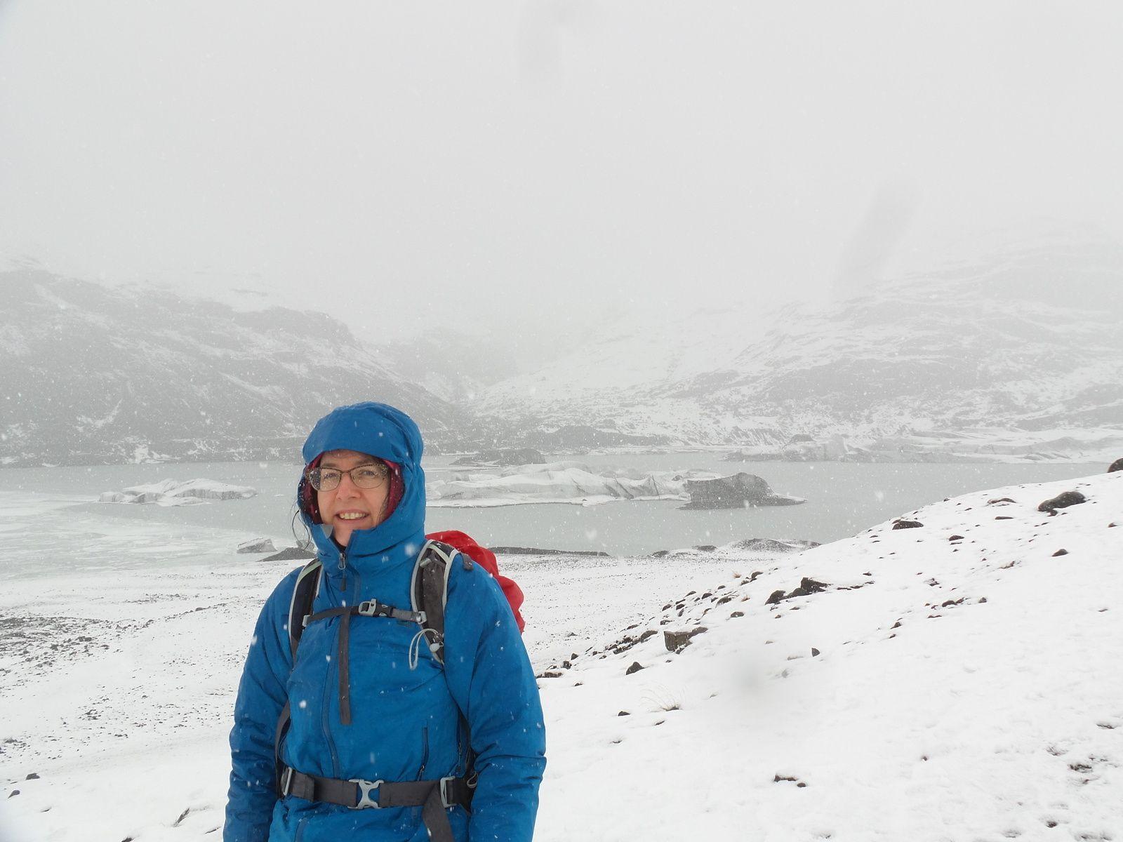 Même la neige qui tombe abondamment n'enlève rien au spectacle des glaciers