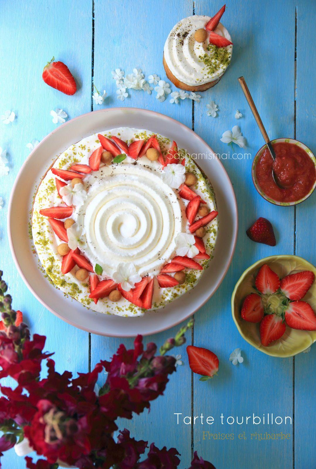 Tarte tourbillon fraises et rhubarbe