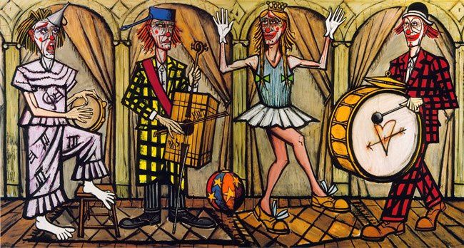 Bernard Buffet : Clowns musiciens, la danseuse