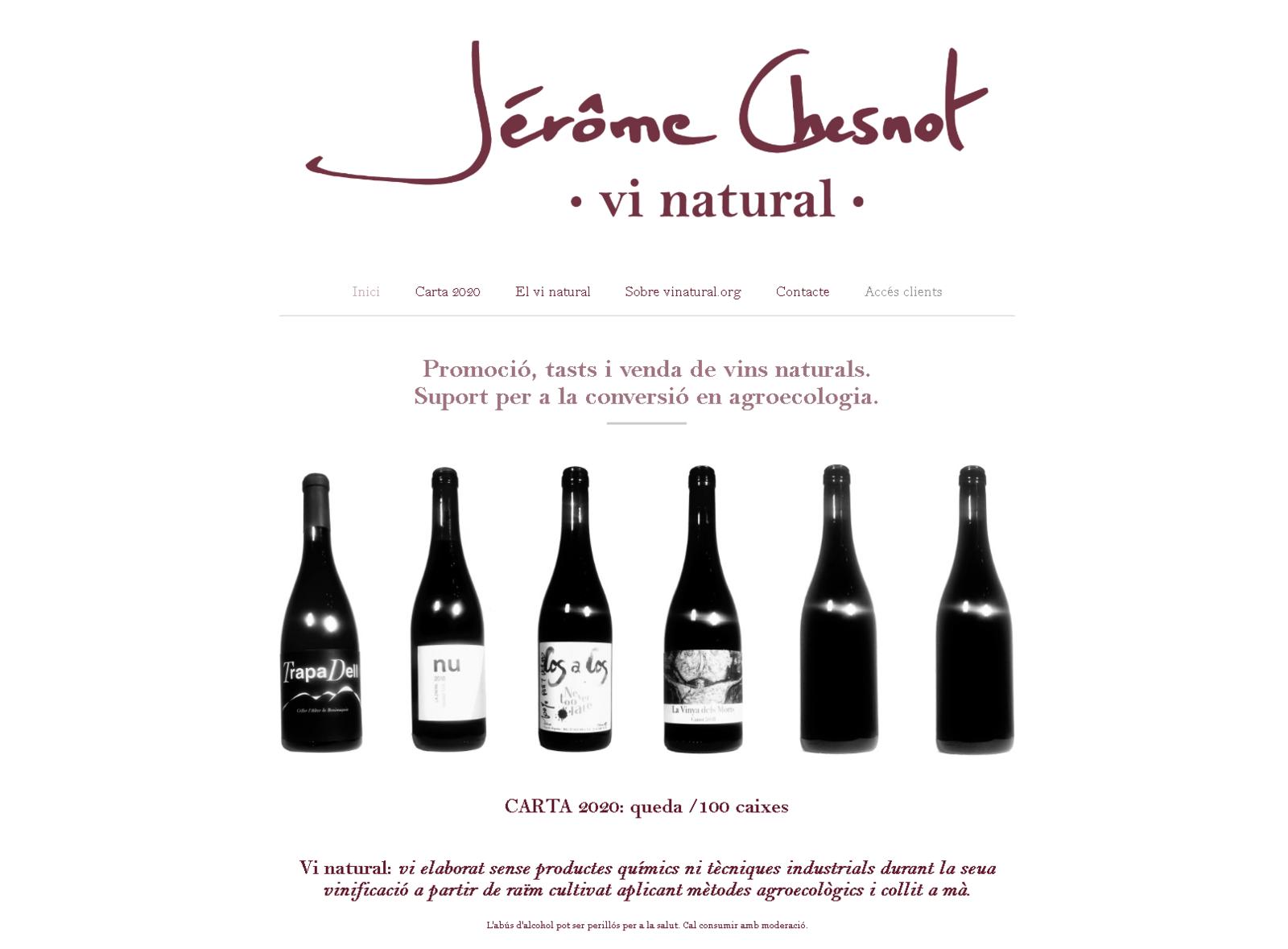 La page d'accueil du site vinatural.org