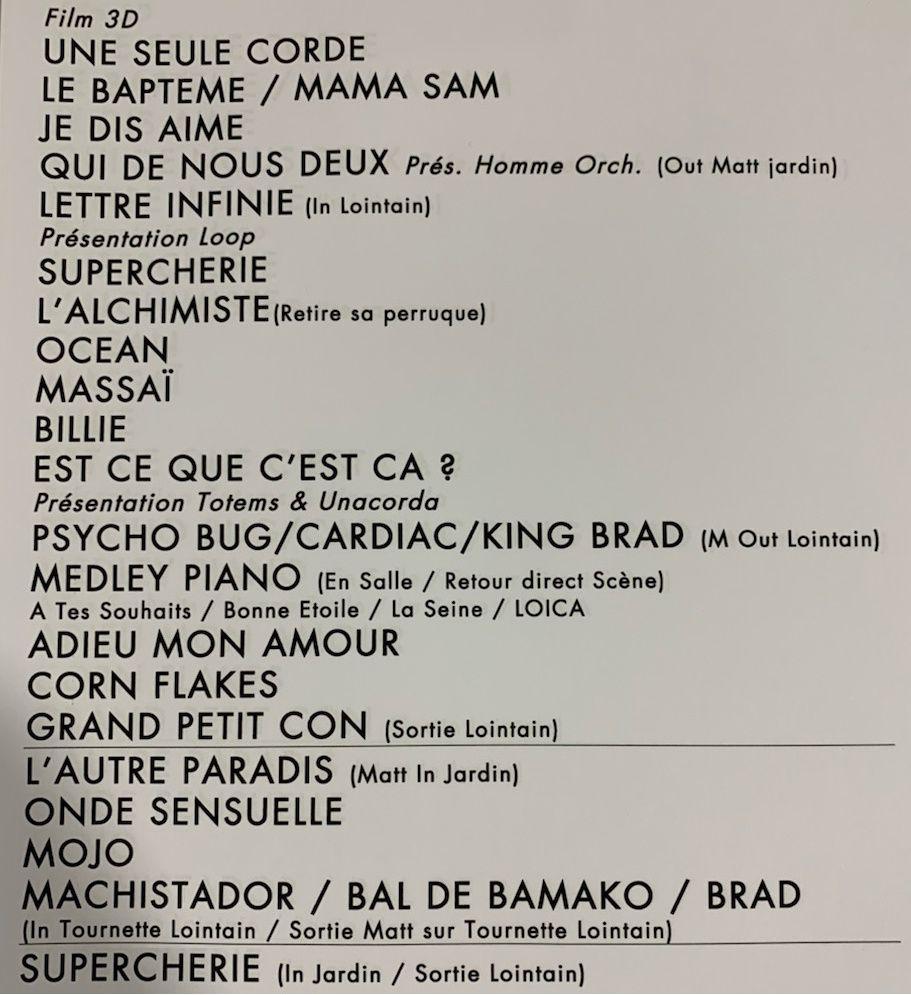 Setlist de la tournée Lettre infinie de Matthieu Chedid