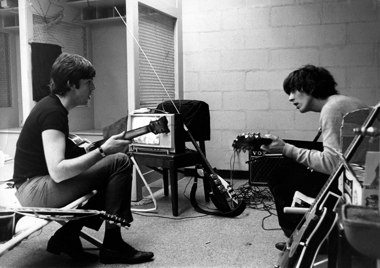 """McCartney credits Harrison with the signature guitar riff, """"it made a stunning difference to the song""""."""