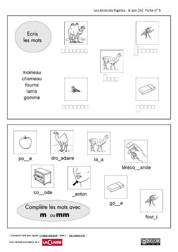 les animots rigolos : acquisition phonème/graphème [m]