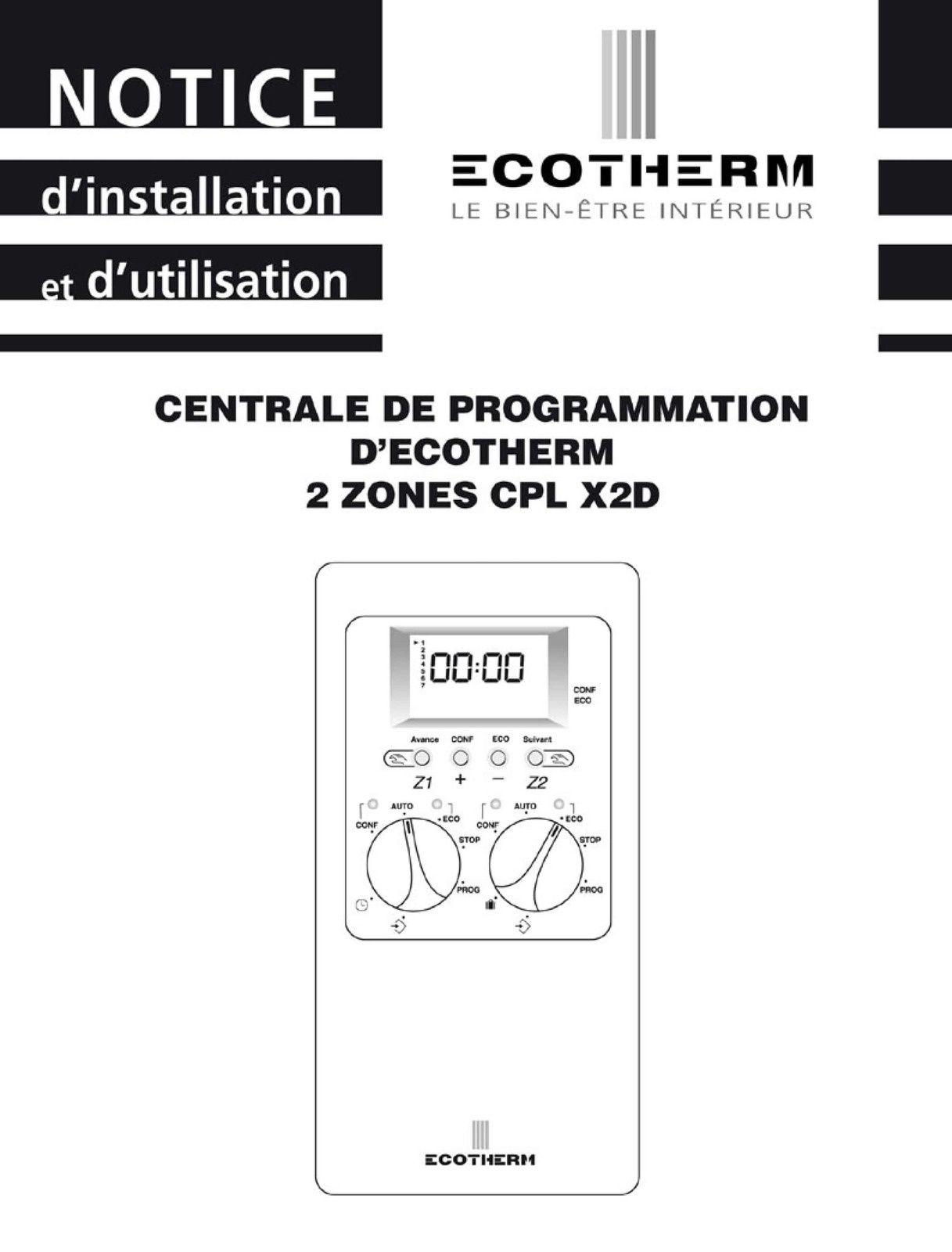 Notice centrale de programmation ecotherm cpl x2d