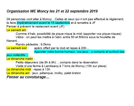 Organisation du we de Moncy