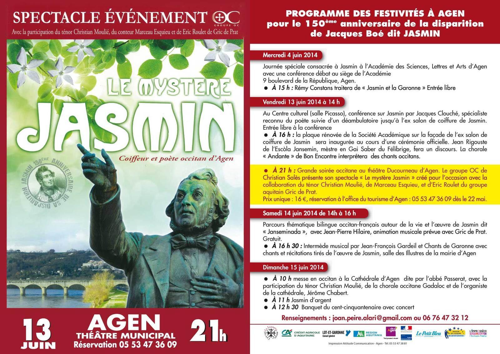 Jasmin, le flyer définitif qui sera distribué sur la ville d'Agen et ses environs.