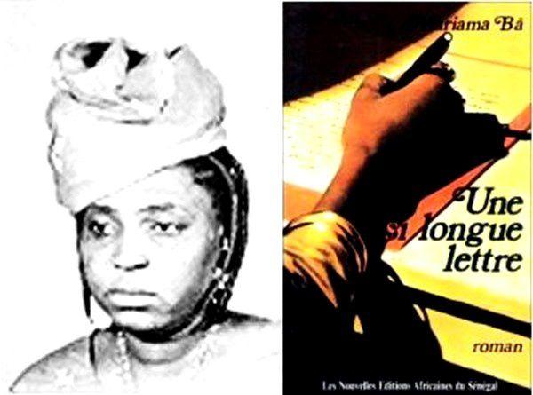 L'auteure, Mariama BÂ, et son premier roman, Une si longue lettre.