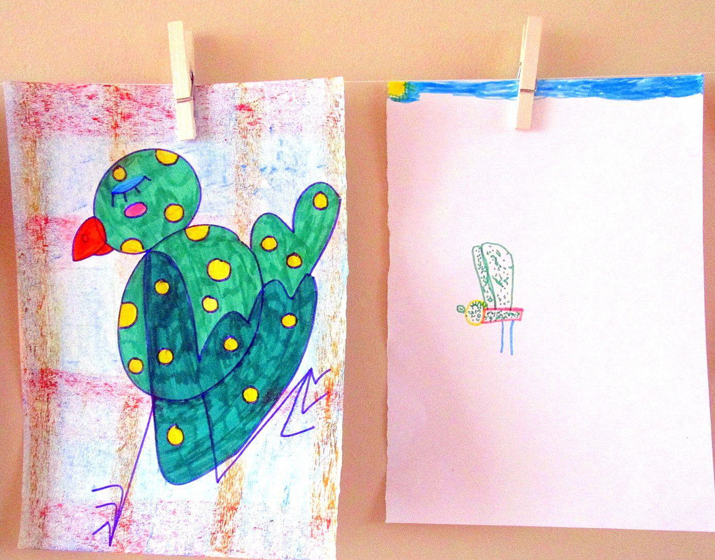 """~ Fin de séance ~ Atelier improvisé ~ Dessin imaginatif ~ """"Mon oiseau a, est..."""" ~"""