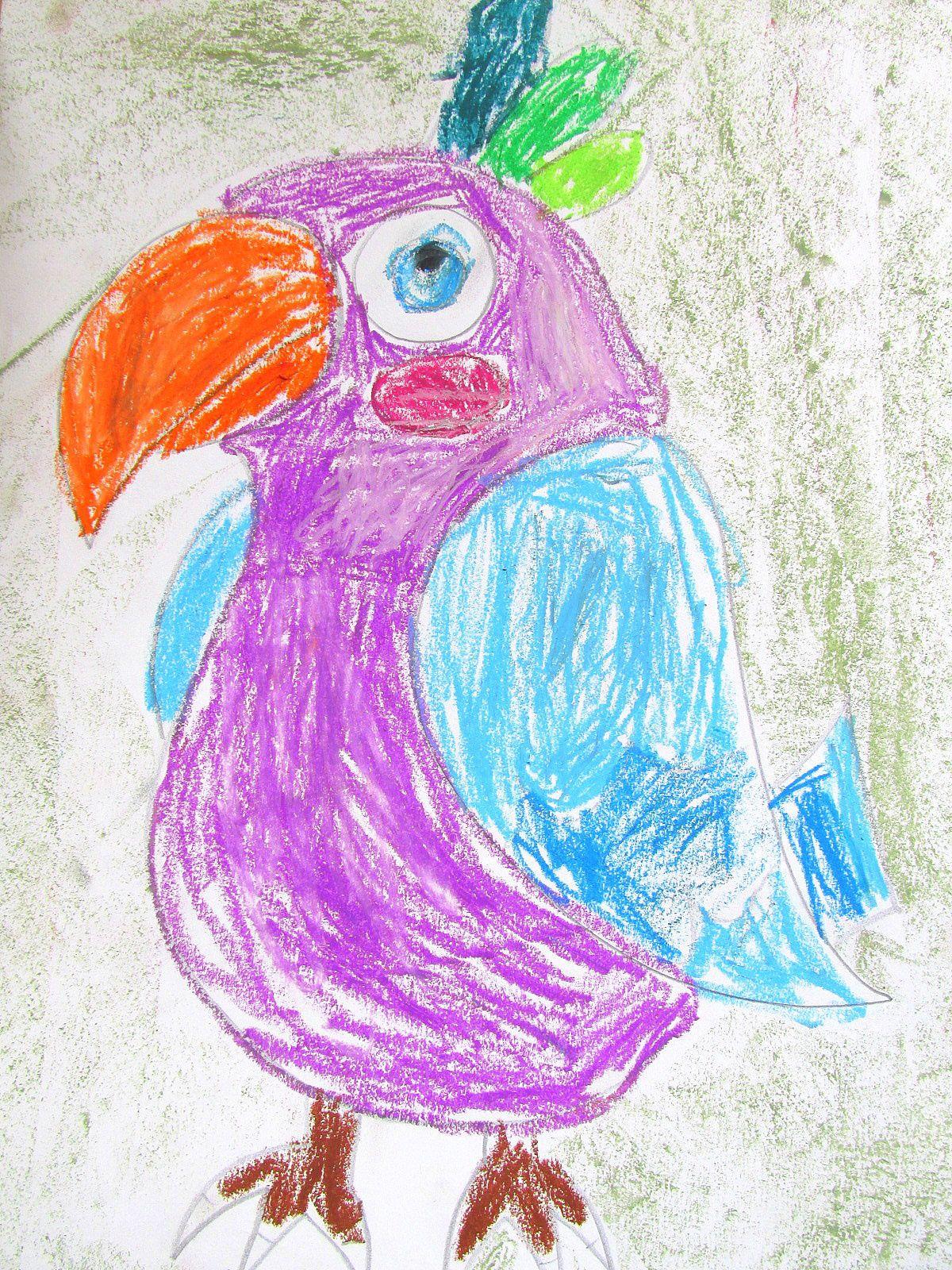 ~ Défilé de perroquets ~ Pastels à l'huile ~
