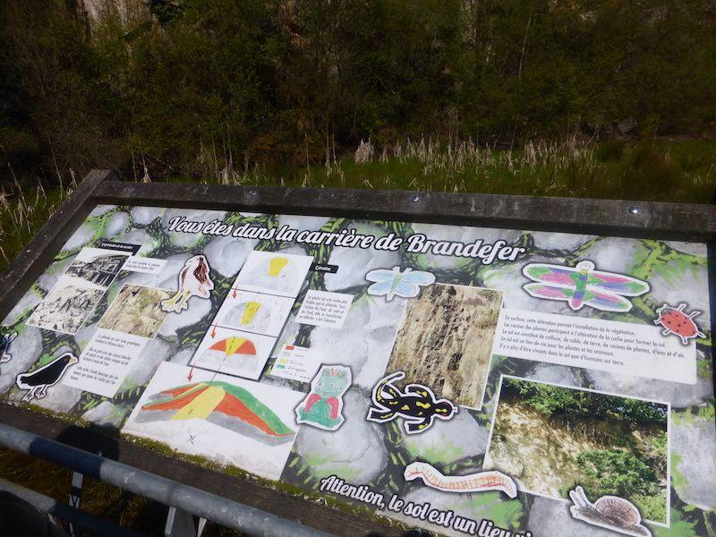 Un panneau explique l'histoire du lieu et la géologie locale .