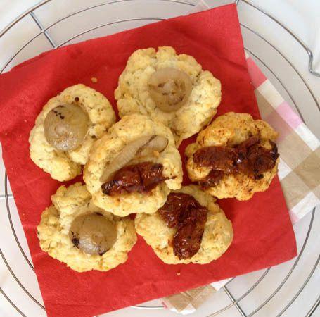 Cookies salés : parmesan et tomates séchées ou oignons grillés