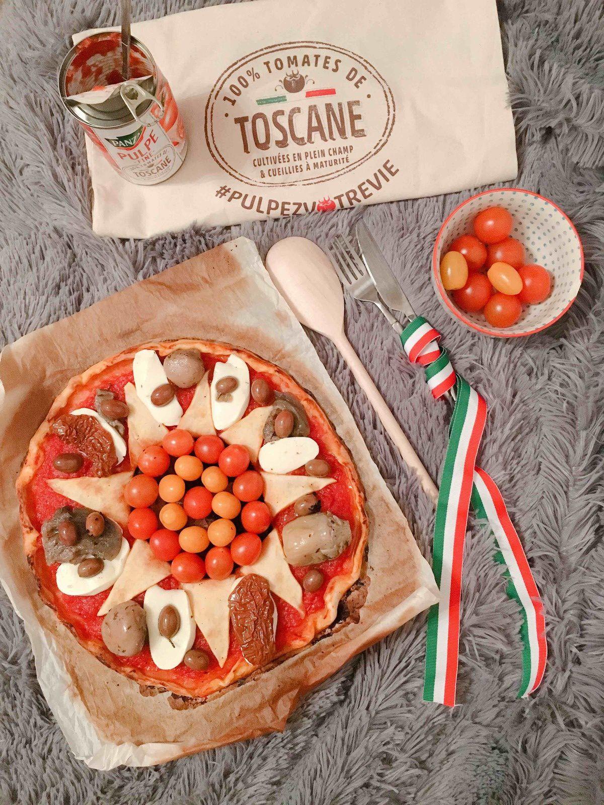 Pizza mozzarella et antipasti