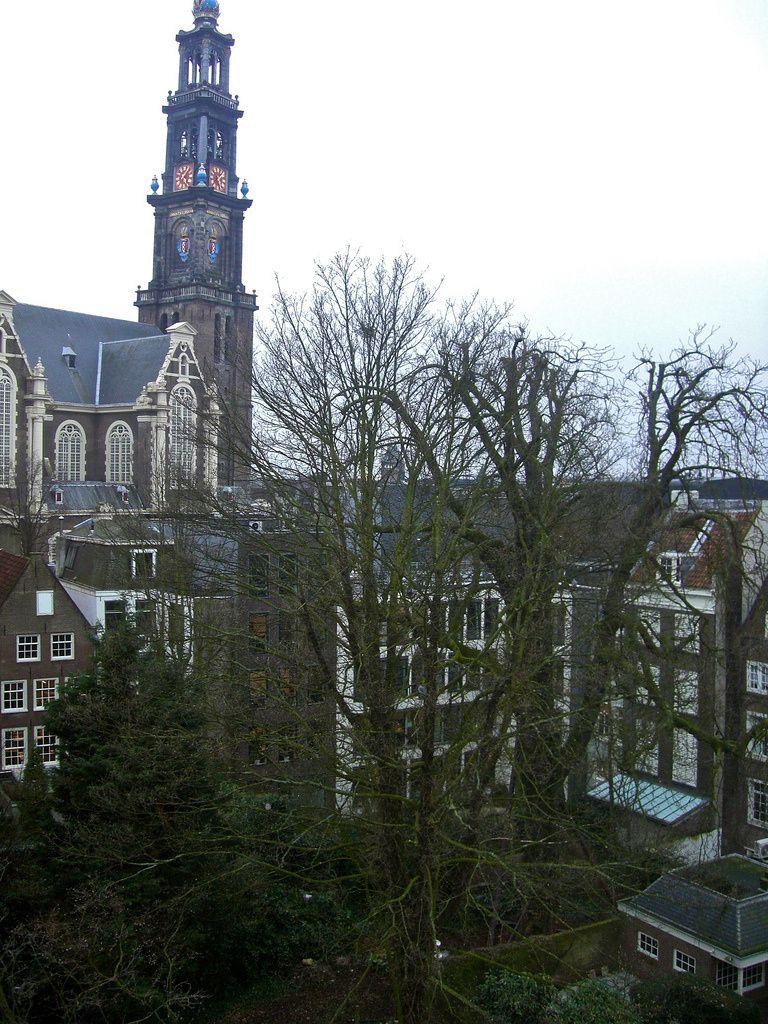 La maison d'Anne Frank (sur la droite) et le marronnier - photo Frans Schouwenburg, flickr