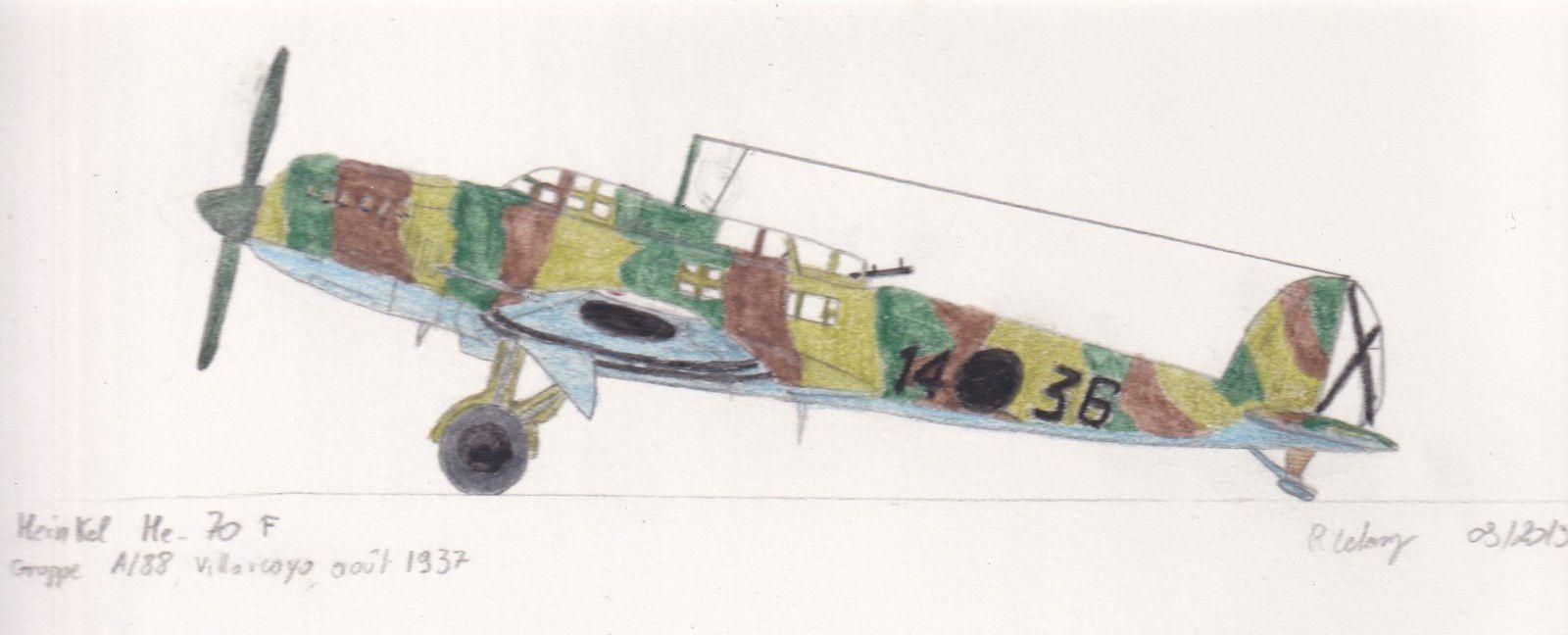 Un Heinkel He 70 F du Gruppe A/88, en août 1937.