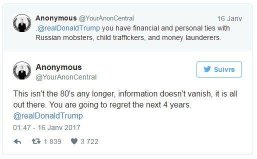 Anonymous menace Donald Trump : «Tu vas regretter tes quatre prochaines années»