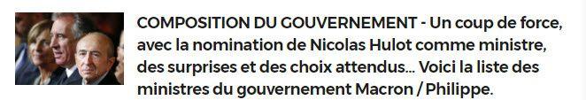 Composition Gouvernement MACRON