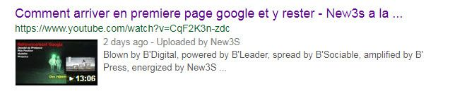 """Voici la trace de la video """"Comment arriver en premiere page google et y rester ! """" dans Youtube"""